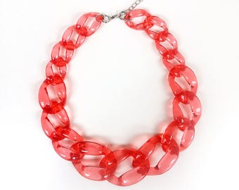 Transparent Red Chunky Link Oversize Necklace, Statement Necklace, Bib Necklace, Bridesmaids Necklace