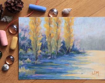 Connu Peinture au pastel sec Paysage de Normandie Chemin dans les GT72