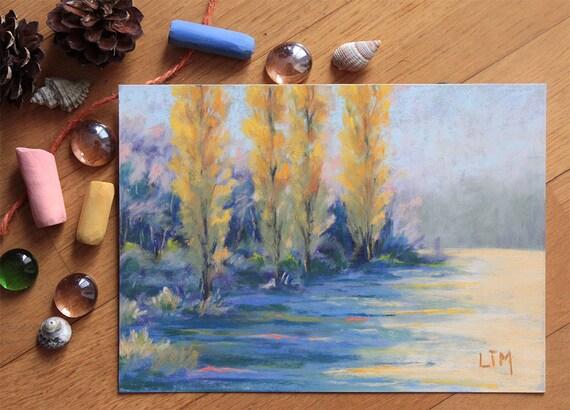 Peinture au pastel sec paysage forestier prairie peupliers - Peinture au pastel sec ...