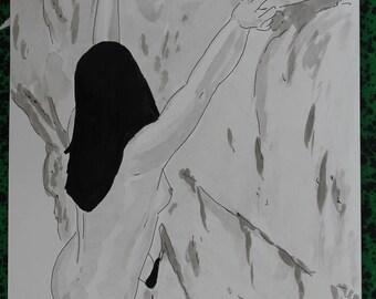 "dessin nu féminin erotique ""Ascension"""
