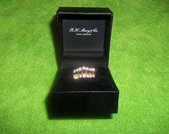 R. H. Macy & Co. Fine Jewelry 22K Gold over .925 Silver Ring with 14 CZ Stones and 7 Black Onyx 70 pron Raised Setting