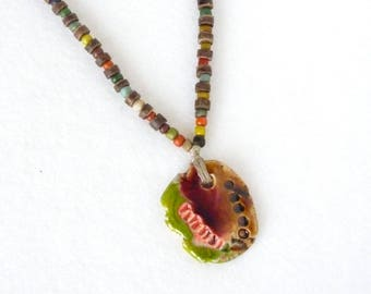 African Necklace, Ethnic Necklace, Tribal Pendant, African Pendant, Ethnic Pendant, For Surfer, Primitive Totem, Fathers Day Gift