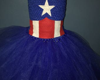 Captain America tutu dress, Super Hero tutu dress, Captain America costume, Super Hero costume