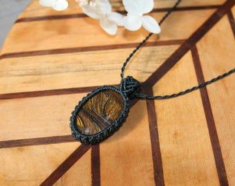 Macrame Jewellery, Iron Tigers Eye Macrame Pendant Necklace, Semi-precious stone, dark blue string setting