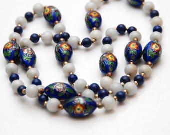 "32""_81.2cm_VINTAGE CHINESE Jade_Lapis + Oval Enamel Cloisonne Beaded Necklace"