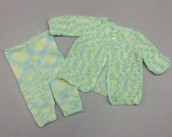 Small Baby Crocheted Jacket with Knittd Leggings