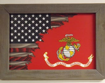 Wicked Antler's Marines With Flag Framed Sign #T-Marines With Flag