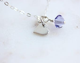 Silver Tiny Heart Necklace, Sterling silver Tiny HEART necklace, Little Girls Necklace, Girls Necklace, Gift for her, Heart Jewelry