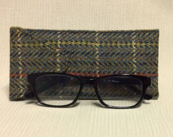 Welsh tweed glasses/spectacles case in green & blue herringbone