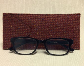 Welsh tweed glasses/spectacles case in red, beige & brown