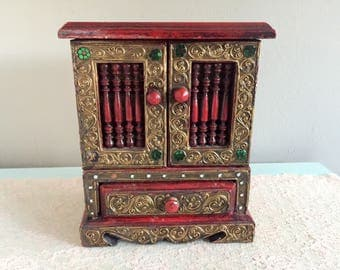 Embellished wooden jewelry box red Jewelry Armoir Made in Thailand