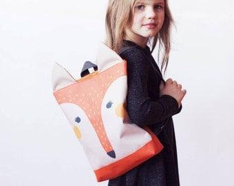 Fox backpack, Kids backpack, Children backpack, Printed waterproof backpack