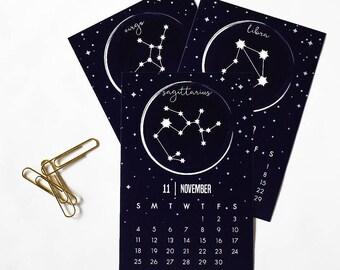 Zodiac Calendar, 2018 Calendar, Mini Easel Calendar, Star Constellations, Horoscope Signs, Astrology Decor, Office Supplies, Desk Accessory