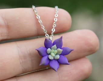 Small Deep Purple Succulent Planter Necklace Pendant Wholesale Mini Succulent Plants Arrangement Succulent Jewelry Wedding Bridal Gifts