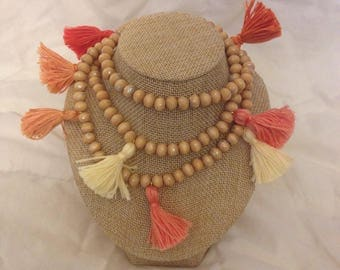 SHADES of CORAL Handmade One of a Kind Boho Mini Tassel Necklace