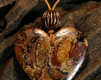 Valentine's Gift - Yowah Boulder Opal Heart Pendant with Copper Bead on String Cord Necklace