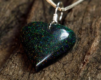 Andamooka Matrix Opal Heart Pendant on Sterling Silver Chain Necklace