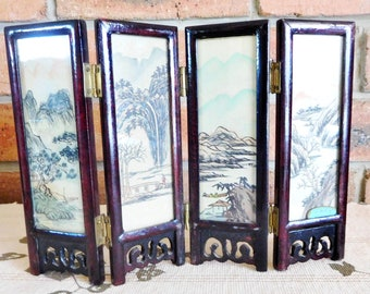Small 17cm vintage 1960s Japanese mahogany and brass folding screen, handpainted silk, oriental scenes, glass panels, movie or theatre prop