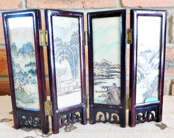 Featured listing image: Small 17cm vintage 1960s Japanese mahogany and brass folding screen, handpainted silk, oriental scenes, glass panels, movie or theatre prop