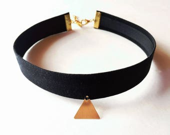 Fabric Choker With Brass Triangle Charm