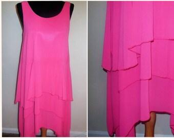 Vintage Dress Pink Asymmetric Layered Sleeveless Summer Sundress Women's Clothing