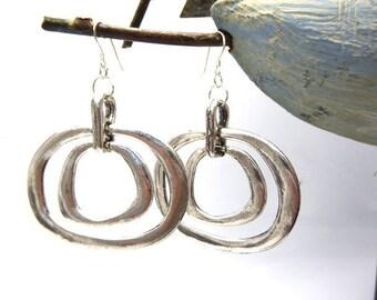 Earrings retro 80's in silver on 925 Silver hook