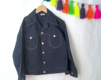 Vintage kids Billy the Kids navy blue jacket, 1970's boys jacket, Billy the Kid cotton jacket. Size L 12/14Y