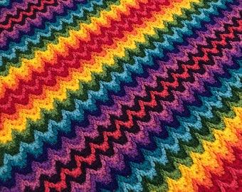 Crochet Blanket Pattern / Tutorial: Rainbow Ridge Blanket Crochet Pattern, Baby Blanket, Rainbow Crochet Blanket - Instant Download