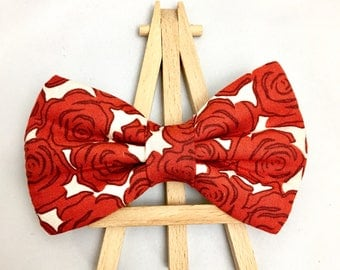 Red Rose Bow Tie | Valentine's Bow Tie | Bow Tie for Dogs | Dog Bow Tie