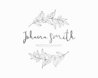 Botanical logo, Boutique logo design, Floral wreath logo, Affordable logo, Premade logo, Logo design, Romantic logo, Small business logo