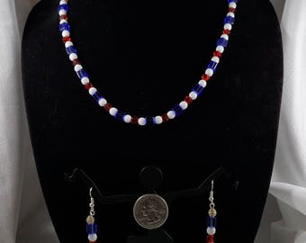 Patriotic Necklace and earrings