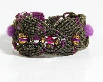 Khaki beads macrame bracelet roses