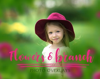 20 Flower and branch photo overlays, PNG overlays, photoshop overlay, tree overlays, flower overlay
