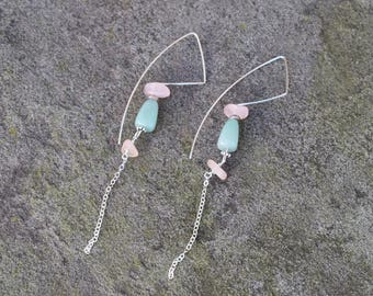 SALE Rose Quarts and Jade Drop & Dangle Earring (Limited Edition) 5 dollars off (New Price Listed)