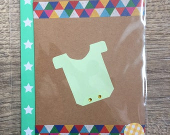 Carte origami body avec enveloppe et sticker bébé, naissance, baptême, baby shower, voeux
