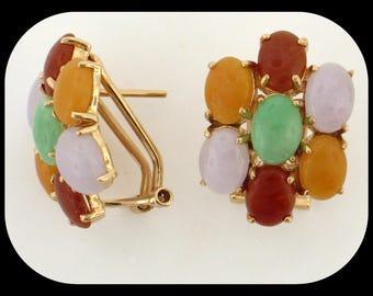 MASON KAY 14K Yellow Gold Multi Color Jadeite Jade Omega Back EARRINGS