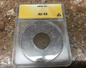 1892 AU 53 Indian head cent