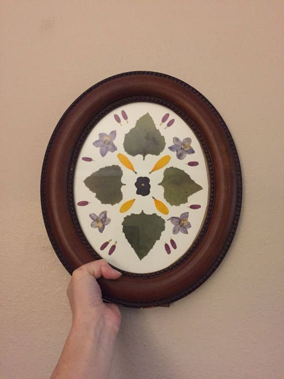 Wildflower Mandala Herbarium - Vintage Oval Framed Art- Mandala Art- Pressed Botanical- Framed Flower Art-  Pansy- Sunflower- Delphinium-