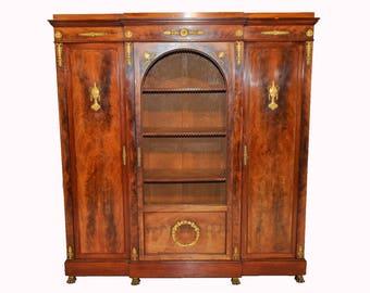 Antique English Empire Bookcase, Storage Cabinet, Walnut #5260