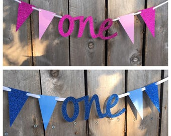 Simple 1st Birthday Banner - Pink or Blue