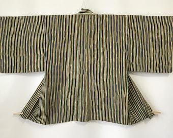 Vintage Women's Haori Jacket, Kimono Coat, Green-Brown Stripe