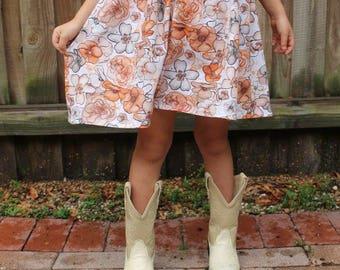 Fall Flowers Dress- baby dress, toddler dress, girl dress, fall outfits, fall dress, floral dress, thanksgiving, rustic fashion