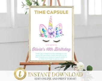 Printable Unicorn Time Capsule, Unicorn Birthday, Time Capsule Sign, Unicorn Party, First Birthday, Baby Time Capsule, 1st Birthday Capsule