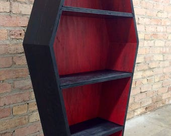 New Two-Tone Vampire Red Coffin Bookcase
