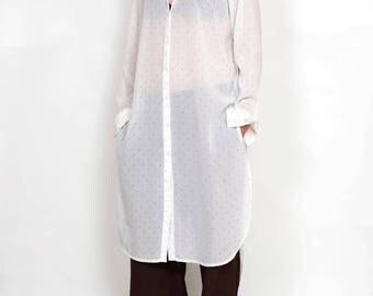 Long white shirt for women, white shirt, white tunic, summer tunic dress, white blouse, long blouse, maxi tunic, women's shirt dress