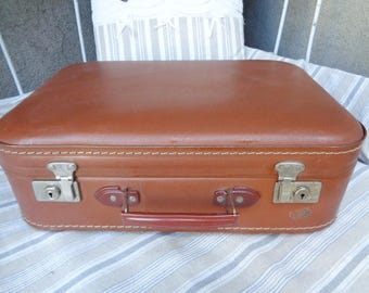 French   Vulcanized  SUITCASE, vintage 1950/60 ,Antique  leather  suitcase,