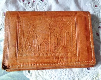 Leather wallet vintage,Morocco handcraft wallet,leather brown wallet