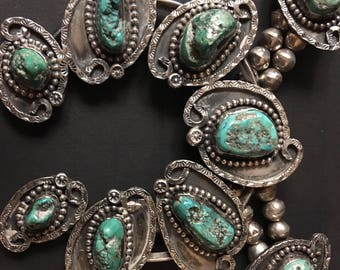 Rare Huge Vintage Navajo Handmade Sterling Genuine Natural Older Green Turquoise Native American Squash Blossom Art Deco Neckla