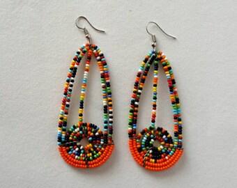 Orange bead earrings, boho earrings, handmade earrings, beaded earrings, earrings for women