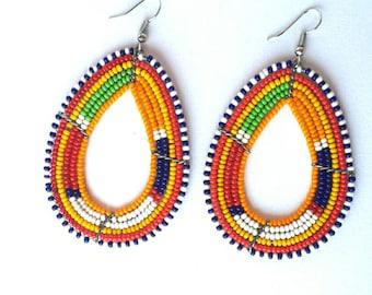 Masai earrings, beaded earrings, handcrafted earrings, bead earrings, wife gift.